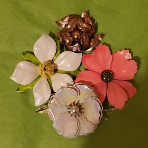 LOT vintage enamel flower pin brooches